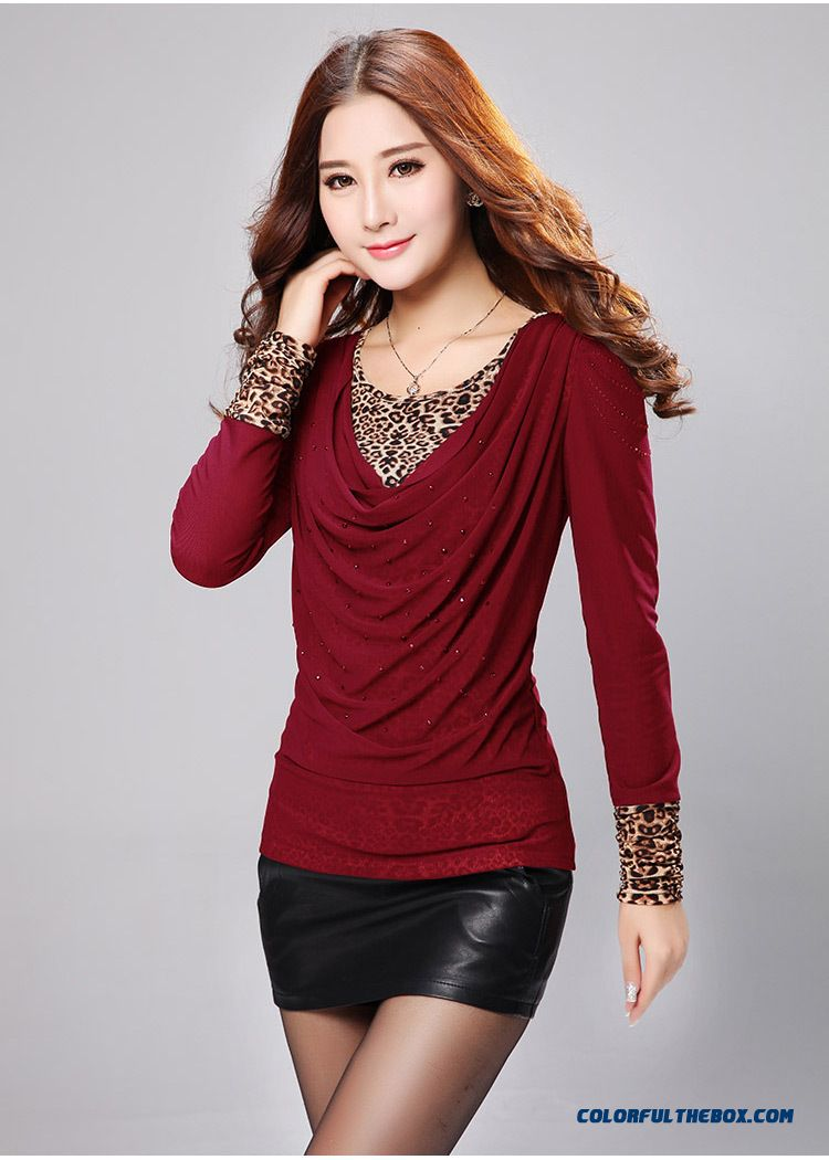 Large Size Women Loose T-shirt Plus Velvet Leopard Korean Long-sleeved Gauze Bottoming Clearance - detail images