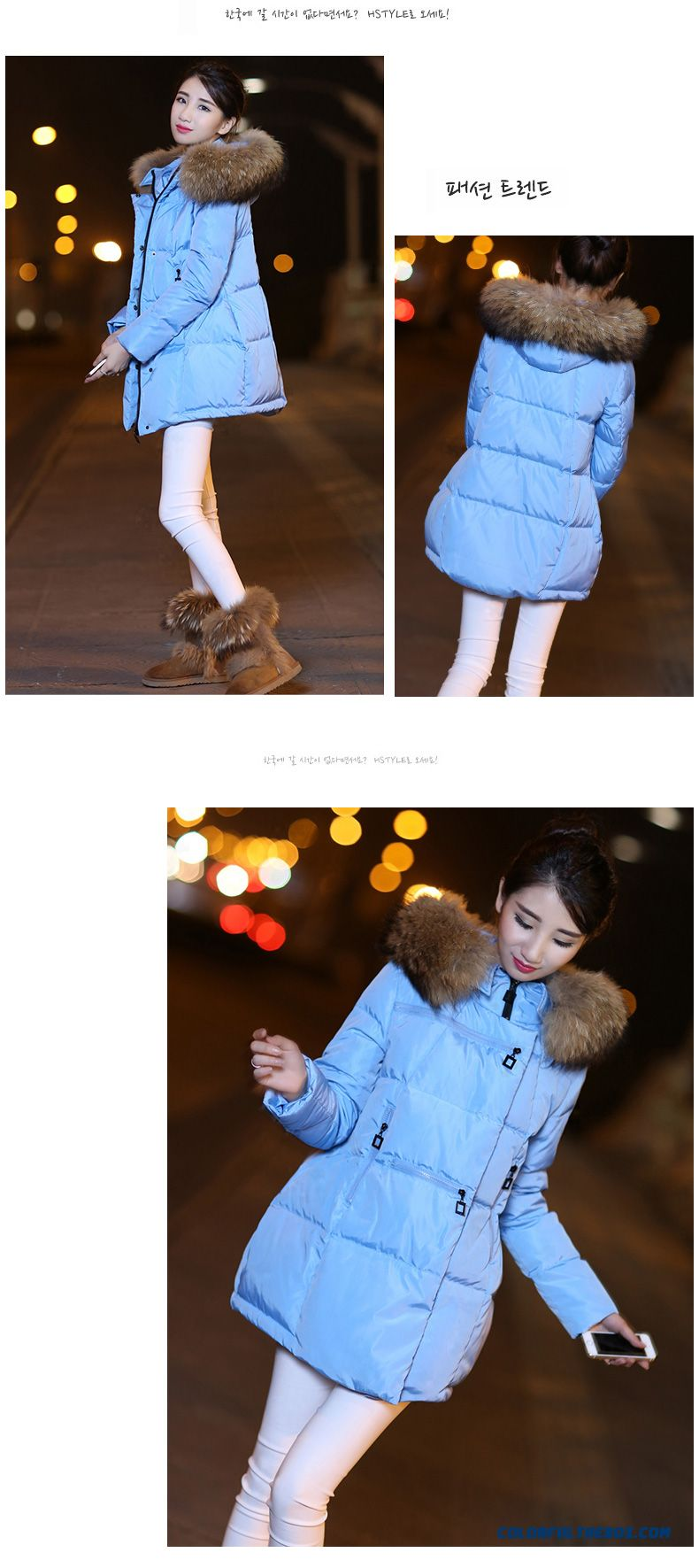 Latest Fashion Women Wear New Fur Collar Hooded Coat Large Medium Length - detail images