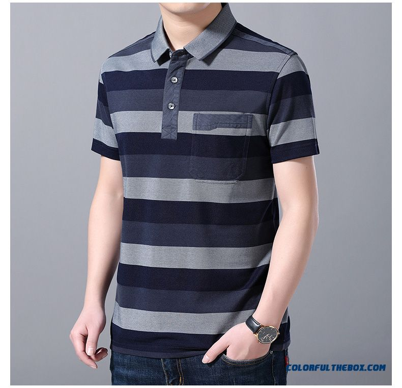 Leisure Half Sleeve Men's Stripes T-shirt New Short Sleeve Gray Summer - detail images