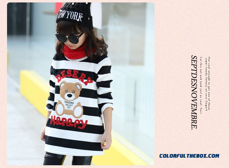 Lovely Girls Kids Thick Add Velvet Primer Shirt T-shirt Bear Pattern Medium-long Stripe - detail images