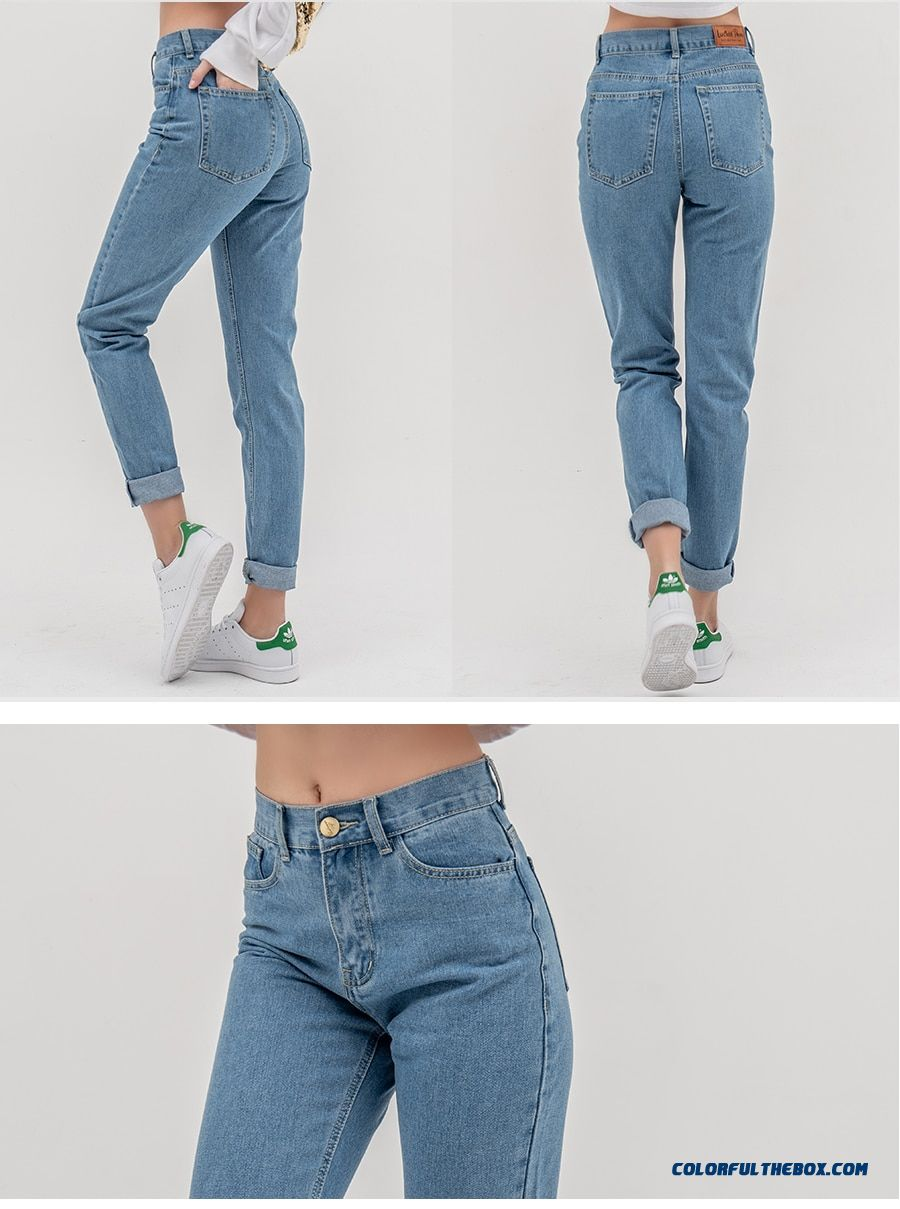 Luckinyoyo Jean Woman Mom Jeans Pants Boyfriend Jeans For Women With High Waist Push Up Large Size Ladies Jeans Denim 5xl 2019 - detail images