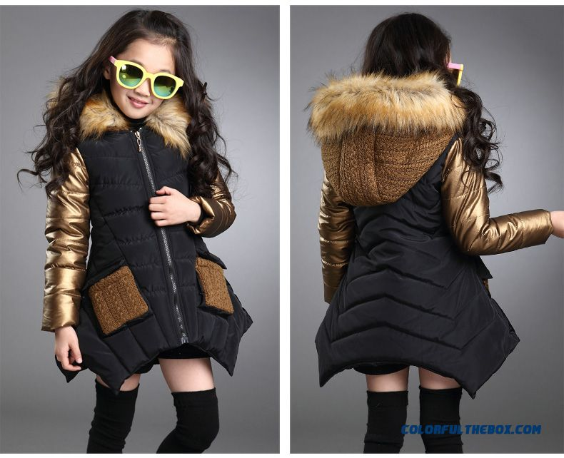 Medium-long Fashionable Big Girls Personality Irregular Hem Cotton Coats Jacket Black Cloti=hing For Kids - detail images