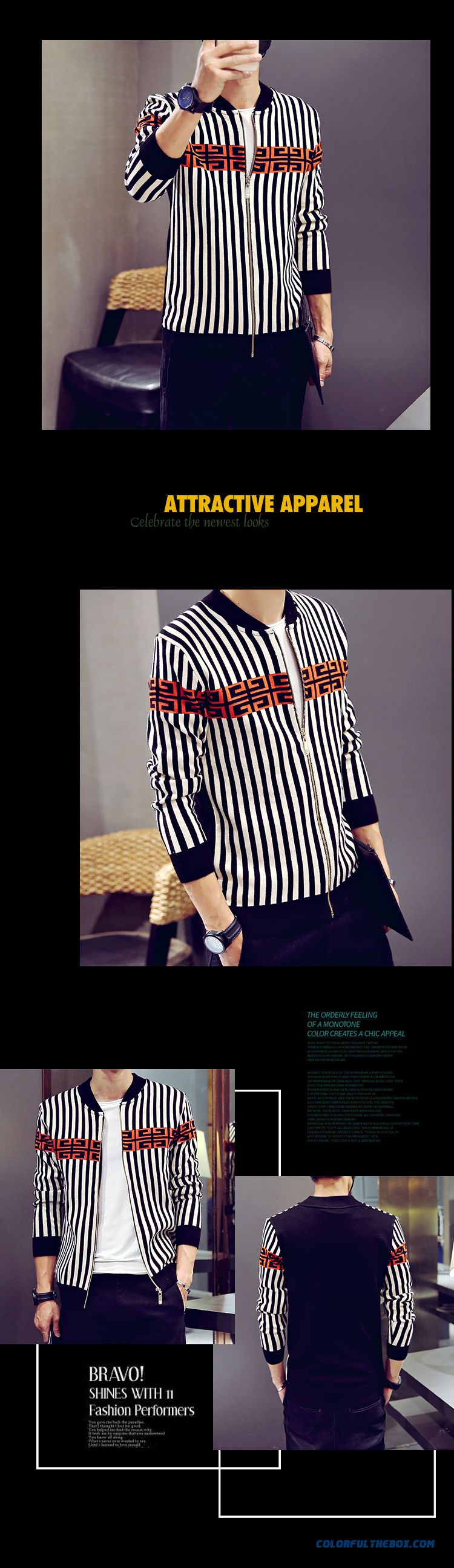Men Clothing Cardigan Knitwear Coat Autumn Thin Sweaters Hit Color Long Sleeve - detail images
