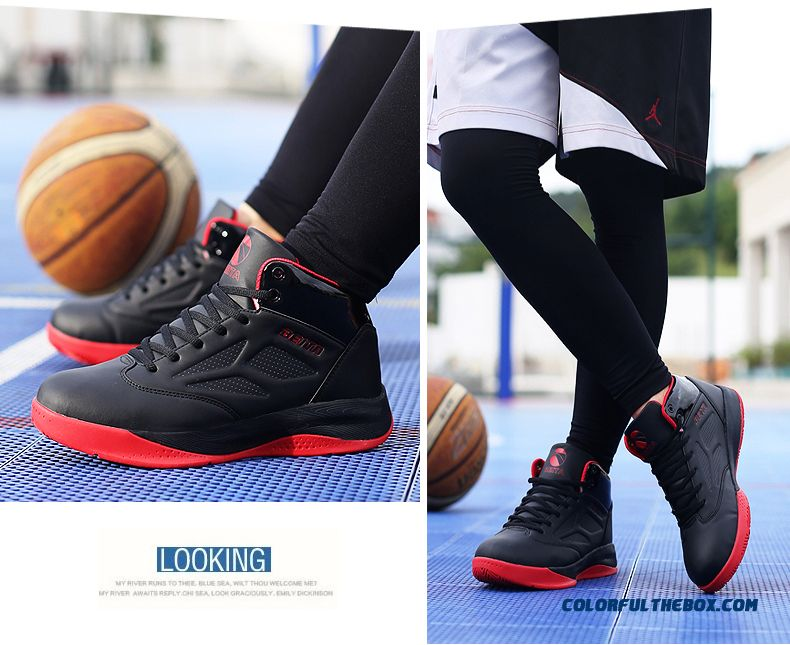 Men's Basketball Shoes Comfortable Breathable Black And Red Color - detail images