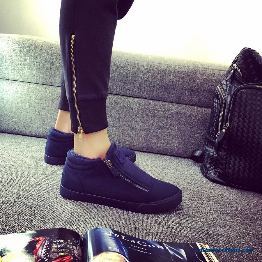 Men's Cotton-padded Shoes High-top Winter Warm Shoes Add Velvet Without Shoelace Flats Thick Shoes - detail images