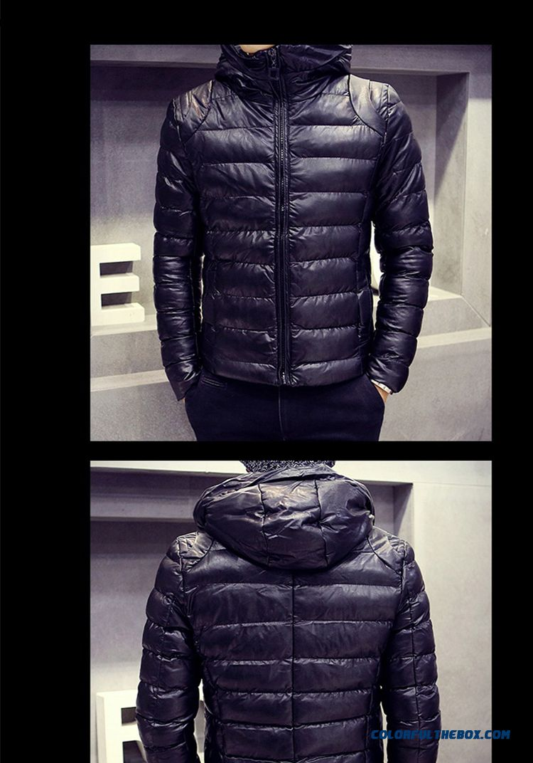 Men's Jackets Slim Hooded Thicker Black Cortex Short Winter Coat Tide - detail images