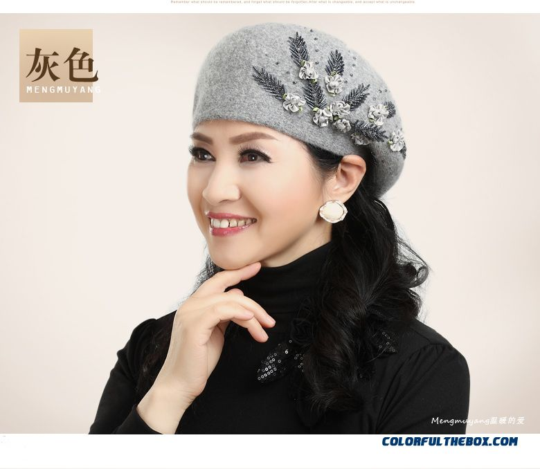 Middle-aged Hat Winter Accessories Rabbit Ladies Berets Embroidered Angora  Double Mom s Cap - detail ... 186b8dacc2a