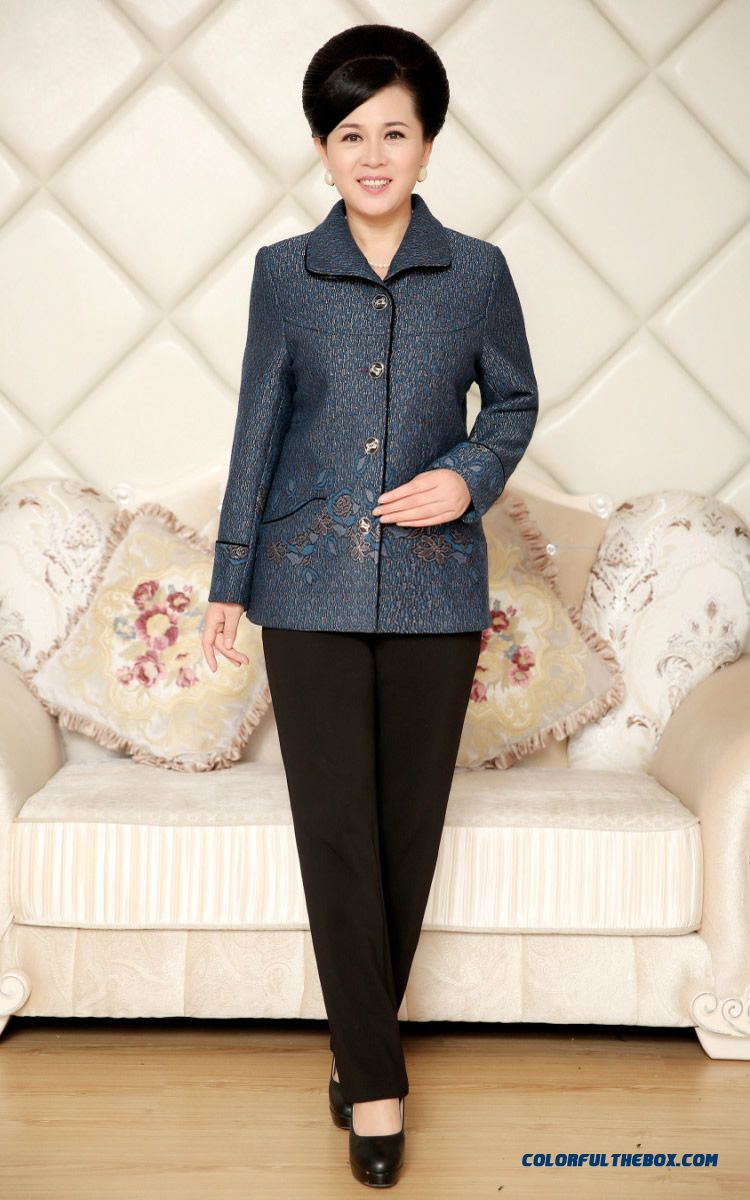 Middle-aged Ladies Women Spring Long-sleeved Loose Coats Short Red Blue - detail images