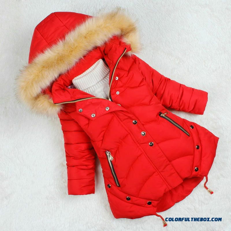 Nagymaros Collar Coat 2015 Kids Girls Medium-long Thick Winter Coat F57 For Kids - detail images