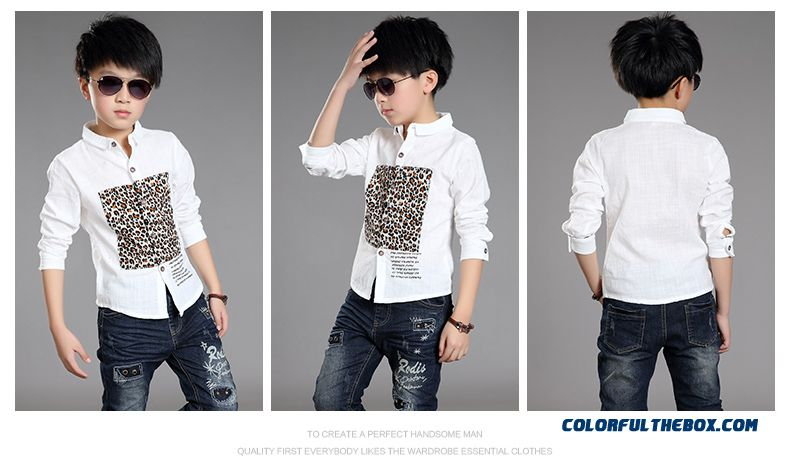 New 2015 Boys Kids Long-sleeved Leopard Patten Shirt Bottoming Shirt 10-12-13-15 Years Old - detail images