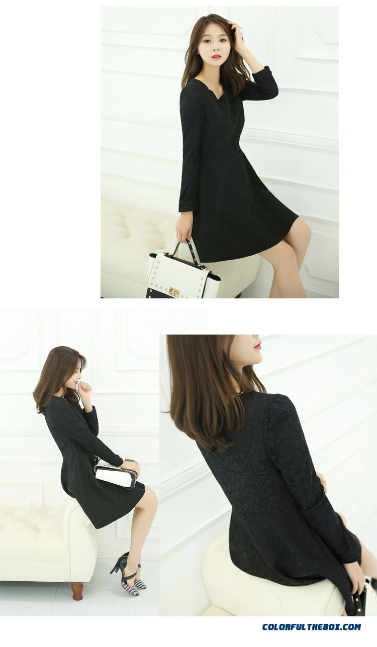 New Autumn And Winter Women's Large Size Long-sleeved Lace Dress Slim - detail images