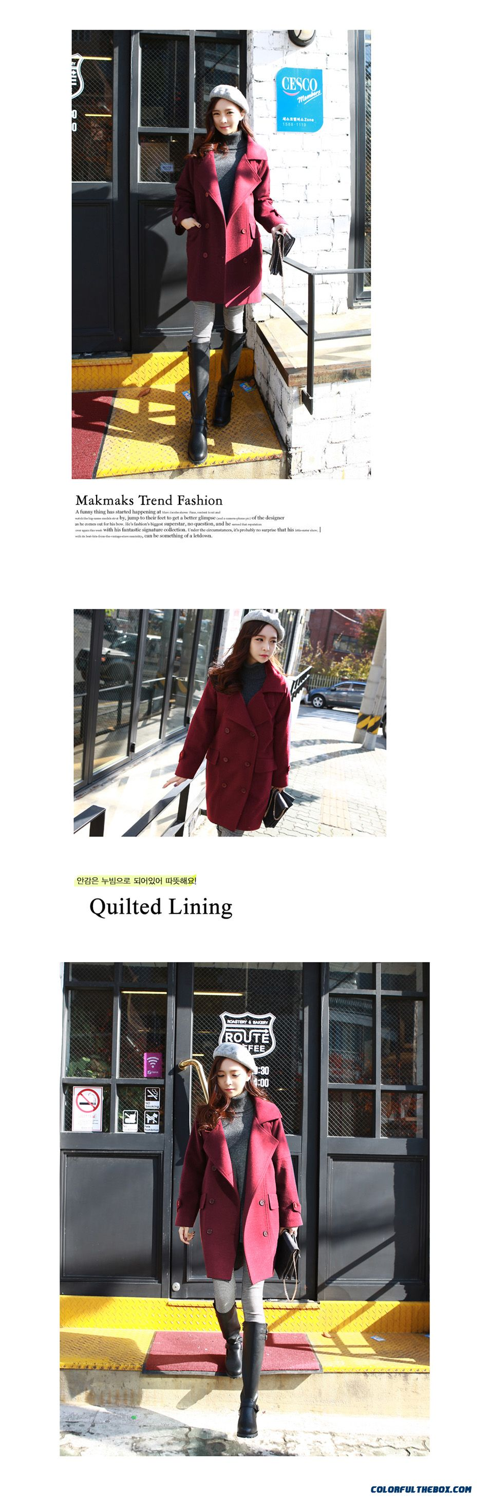 New Autumn Winter Women Woolen Coats Slim Light Tan Red Wine Lapel Large Size - detail images