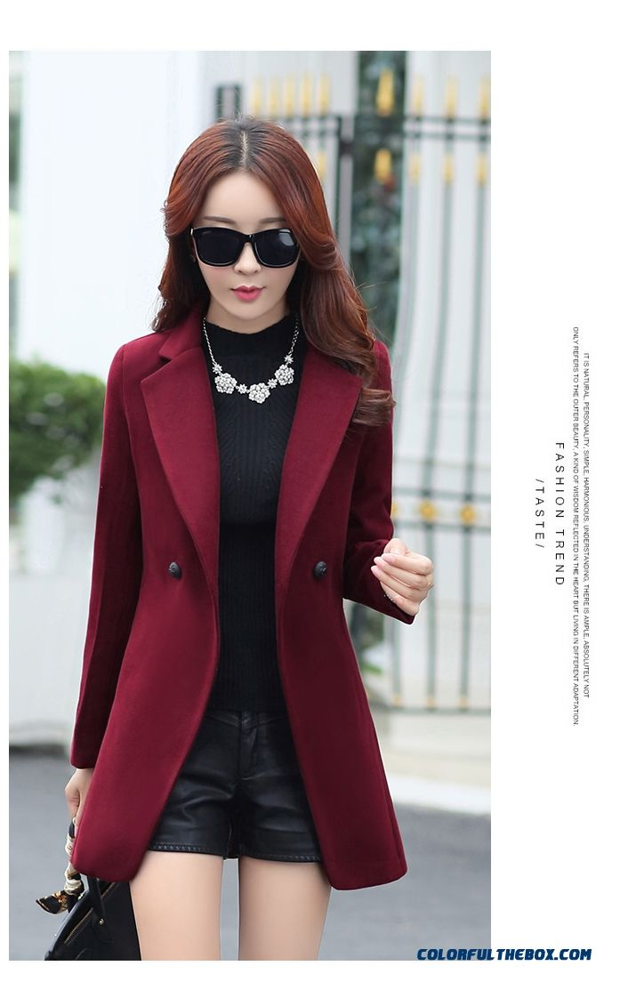 Cheap New Elegant Women Winter Woolen Coat Red Suit Collar