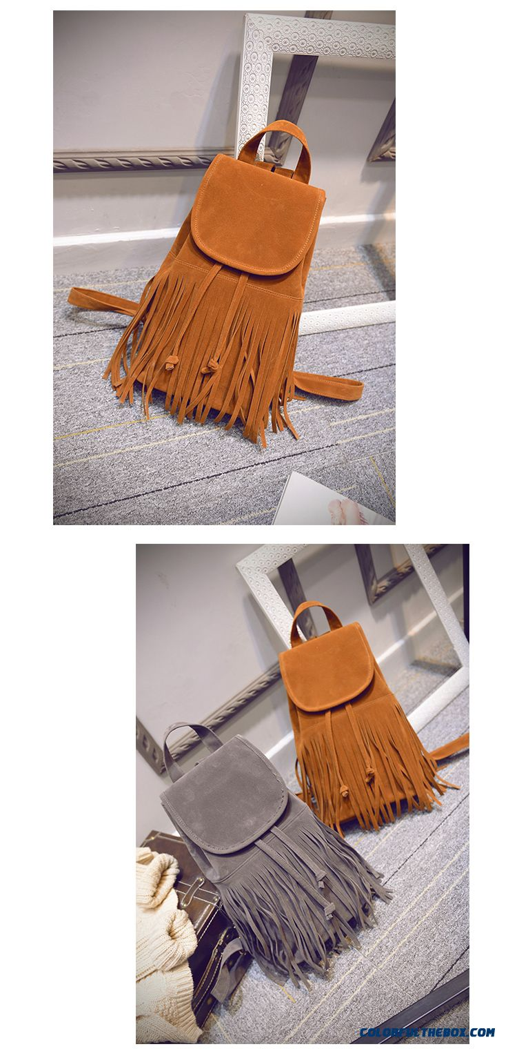 New Fall Nubuck Leather Retro Schoolbags College Style Fringed Bag For Women - detail images