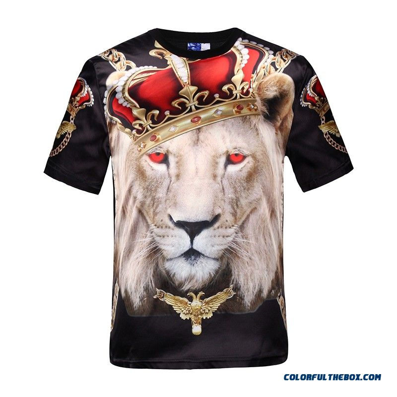 New Fashion Men's Hip Hop Crown Lion Print T Shirt Mens 3d Compression T-shirt Swag Yeezy Tshirt Homme Brand Clothing For Men - detail images
