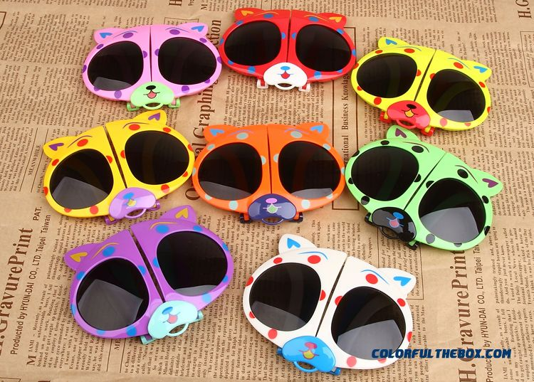 New Folding Glasses Bear Kids Polarizer Glasses Sunglasses Dark Glasses For Girls - detail images