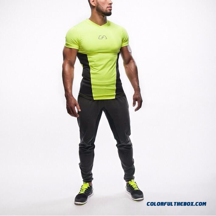 New High Quality 2016 Gymshark Leica Polyester Patchwork Compressed T-shirt Gym Male Bodybuilding Muscle Men Men's T Shirts - detail images