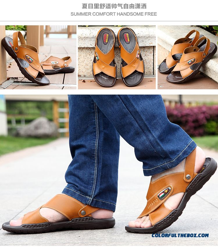 New Leather Beach Shoes Youth Open Toe Casual Men's Sandals - detail images