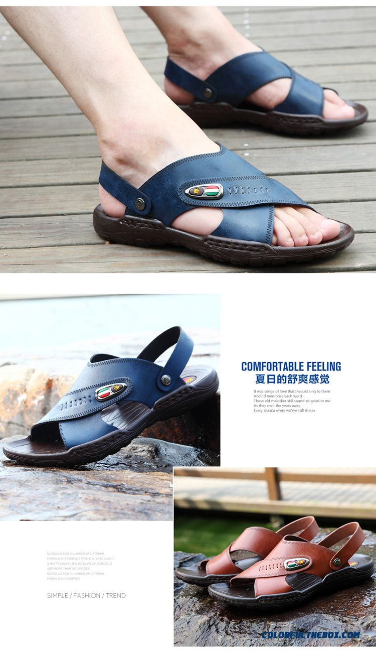 New Men Summer Sandals Leather Open Toe Beach Breathable Shoes Tide - detail images