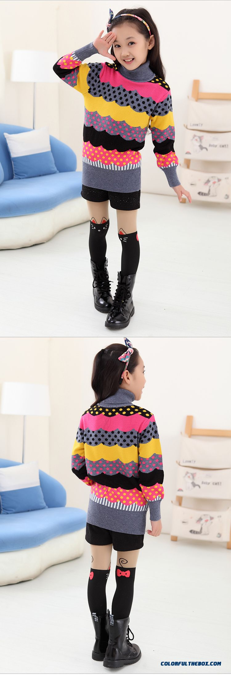 New Princess Girls Big Kids Sweater Girls Bottoming High Collar Shirt Bottoming Korean Version Of Sweet Clothing - detail images
