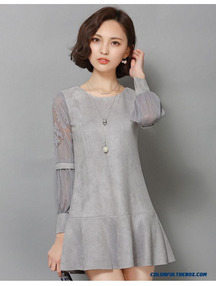 Cheap New Suede Women Hollow Long Sleeved Korean Fashion