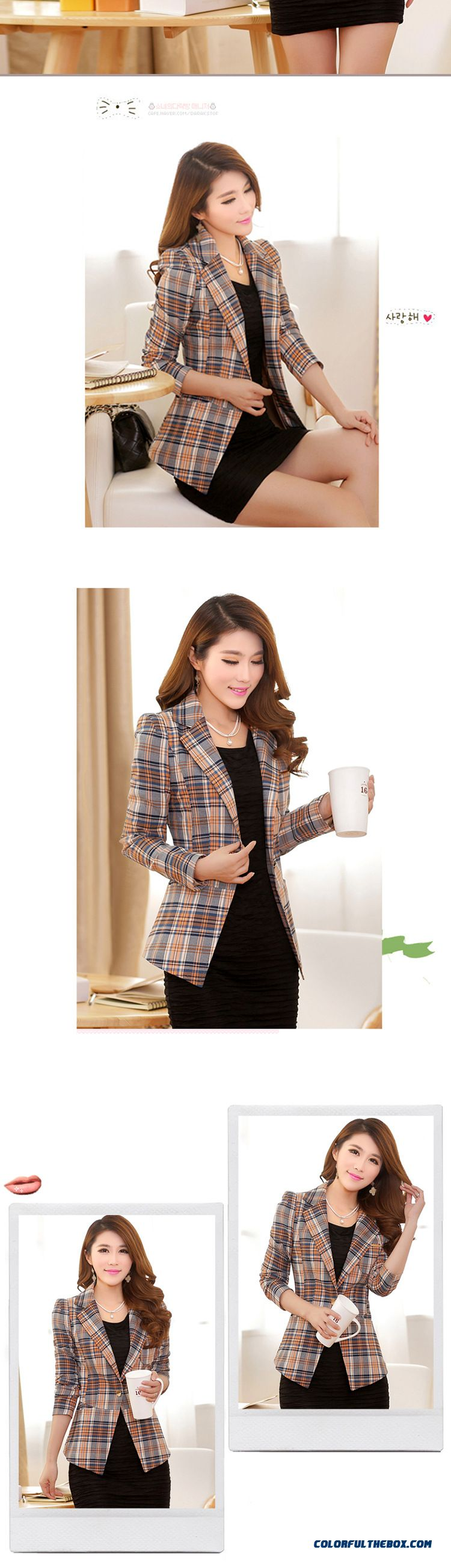 New Trend Of Fashion Women's Fashion Korean Slim Plaid Small Suit Coats - detail images