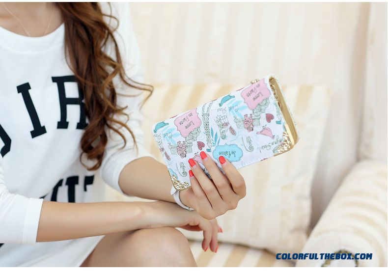 New Version Zipper Printed Clutch Women's Wallet Long Tide Free Shipping - detail images
