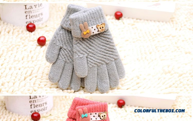 New Winter Boys And Girls Kids Five Fingers Warmth Gloves Cute Gloves Winter Models Cartoon Baby Knitted Gloves - detail images