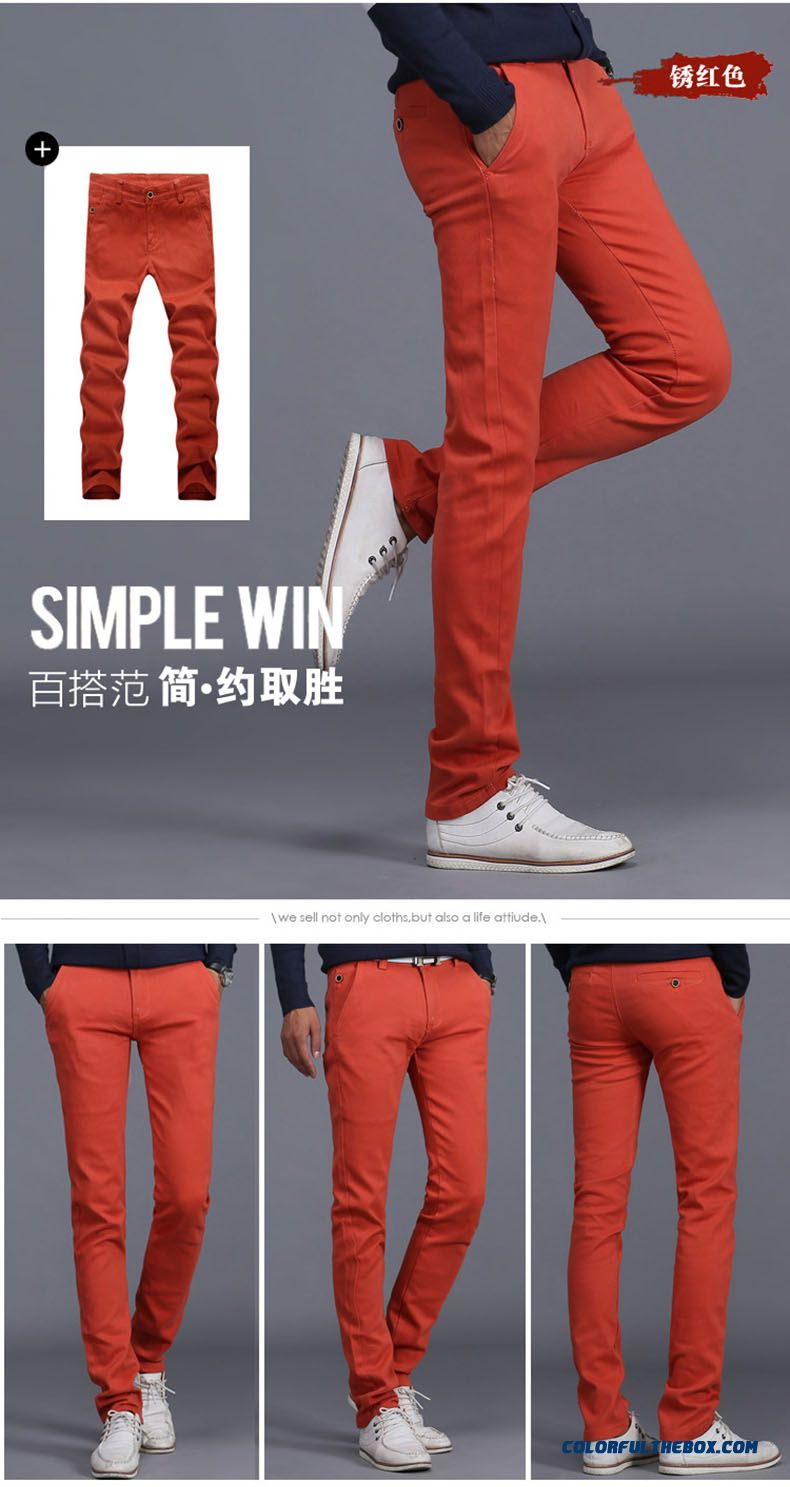 New Winter Casual High Elastic Thick Cotton Business Casual Long Pants Men Tide - detail images
