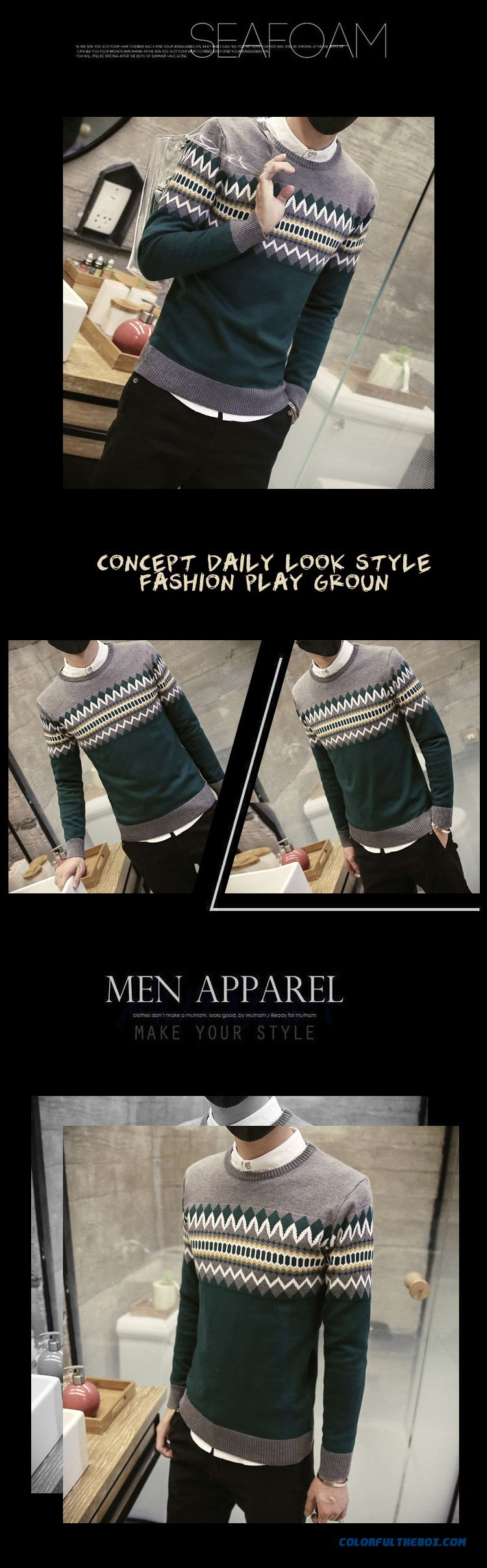 New Winter Men Pullover Round Neck Knitwear Thick Sweater Bottoming Shirt - detail images