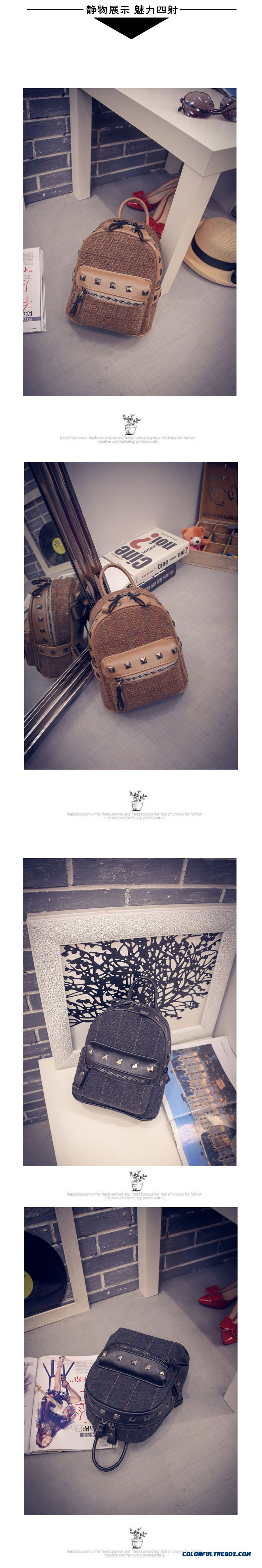 c582275ce3ca New Winter Plaid Women Korean College Style Schoolbags Simple Woolen Mini  Backpack - detail images ...