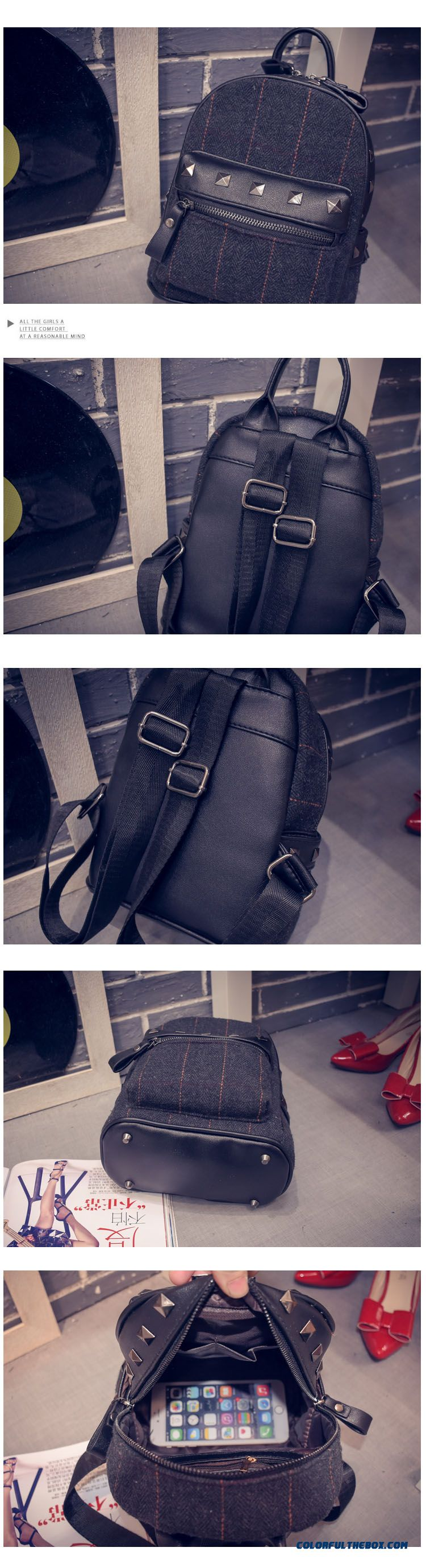 8eb48f0026d2 ... New Winter Plaid Women Korean College Style Schoolbags Simple Woolen  Mini Backpack - detail images ...