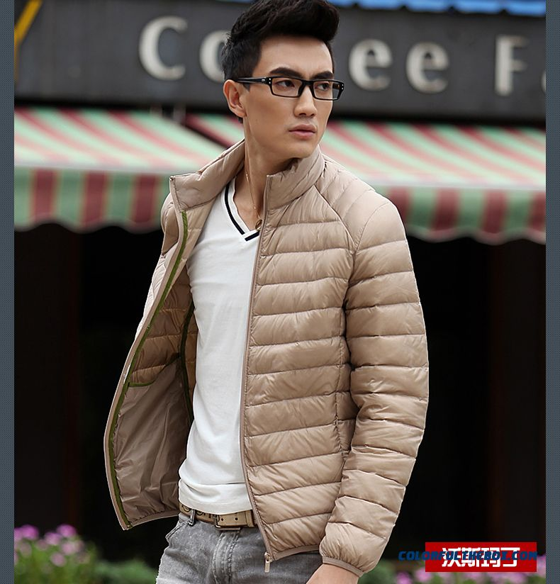 New Winter Style Men Coats Thin Short Stand Collar Large Size Mode - detail images