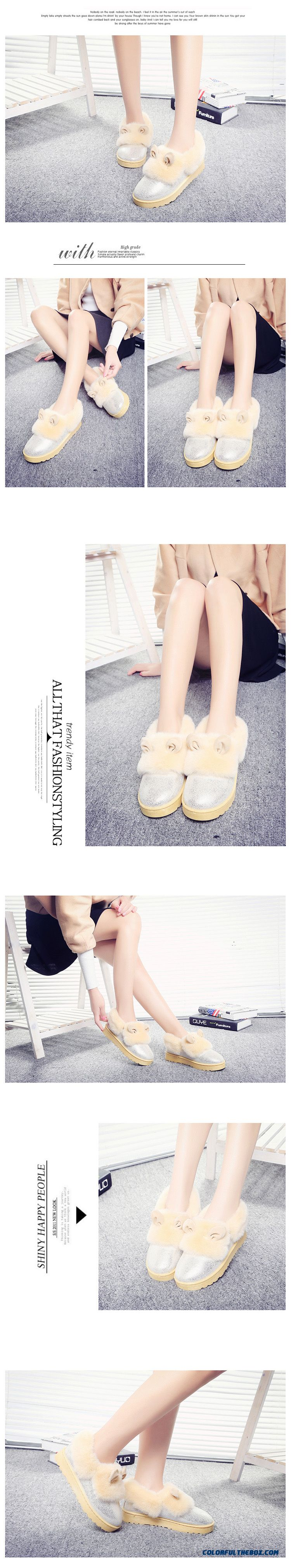 New Winter Thick Warm Women Shoes Heavy-bottomed Flat Boots With Rabbit Ears - detail images