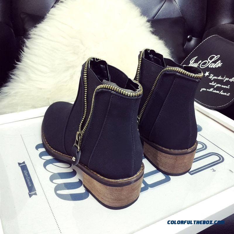 New Winter Women Low-heeled Martin Boots Side Zipper Retro Round Ankle Boot - detail images