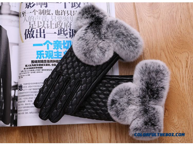New Women Genuine Sheepskin Lady Touch Screen Gloves Mittens Wimter Promotional Free Shipping Hot Accessories - detail images