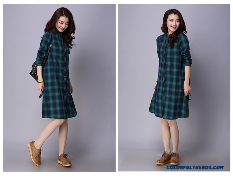 7c9d74c5575 New Women's Fashion Flax Loose Medium-long Shirt Standing Collar Shirt -  detail images ...