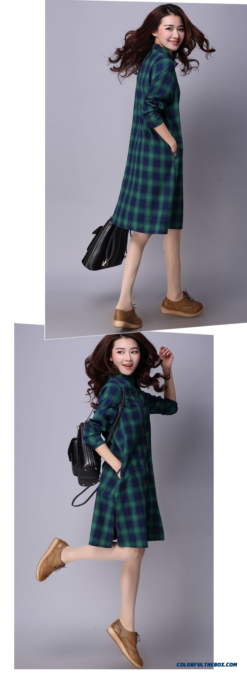 528c2cf843d ... New Women's Fashion Flax Loose Medium-long Shirt Standing Collar Shirt  - detail images ...