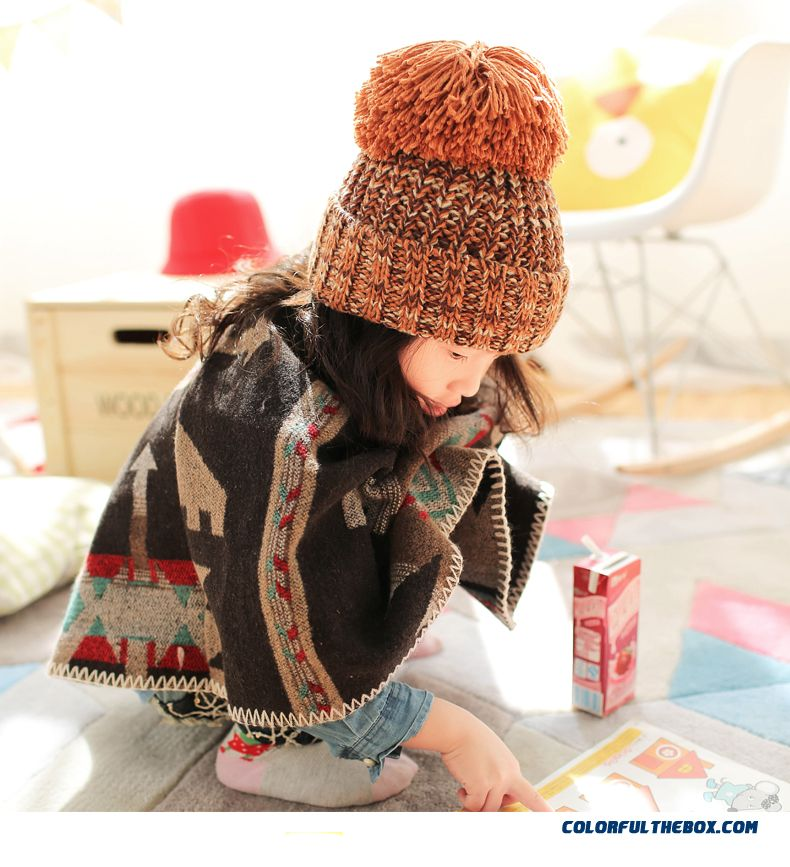 Newest Parent-child Design Oversized Hair Ball Wool Cap Boys And Girls Knitted Kids Hats Free Size - detail images