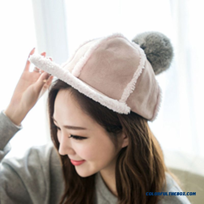 On Sale Winter Accessories Of Warm Suede Rabbit Fur Ball Knight Hat Teenage Girls Women Thickened Peaked Cap - detail images