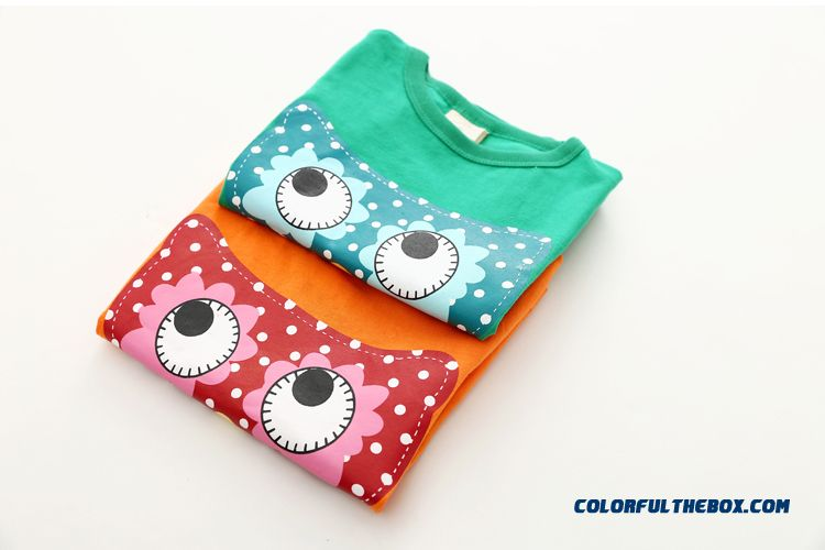 Owl Girls Children's Clothing Baby Kids Casual Short-sleeved T-shirt Green - detail images