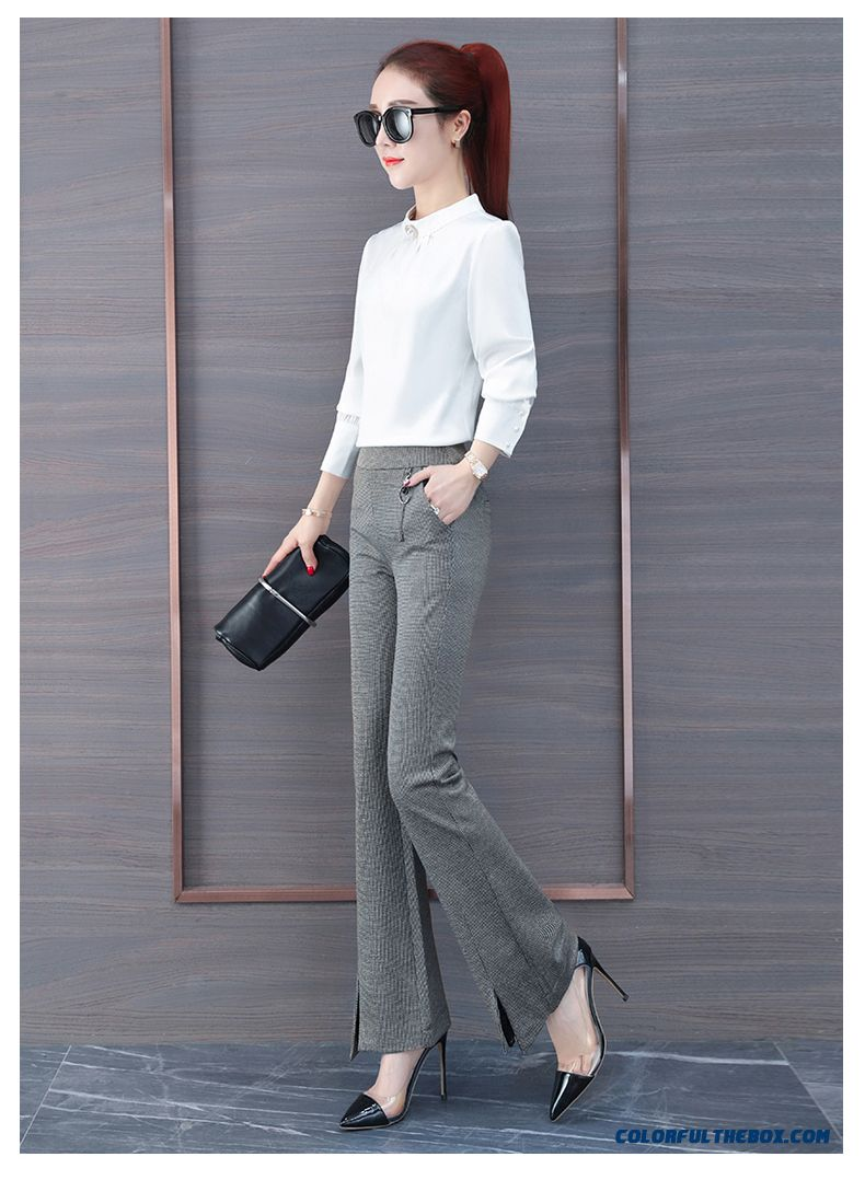Pants High Waist Trousers Khaki Pants New All-match Slightly Autumn Bell-bottoms Leisure 2019 Thin Europe Women's Spring - detail images