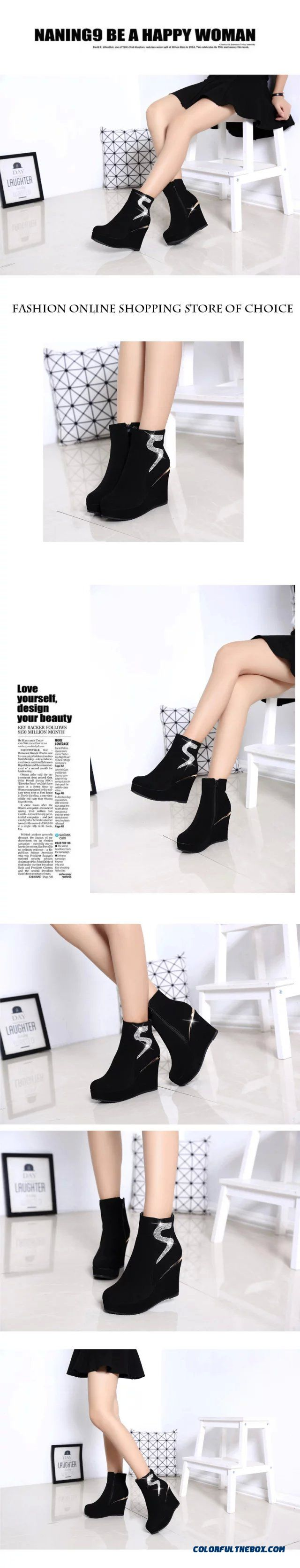 6ada62ecb4e4 ... Popular In European And American Wedge Heel Thick Bottom Elevator Shoes  Inside Women Boots - detail ...