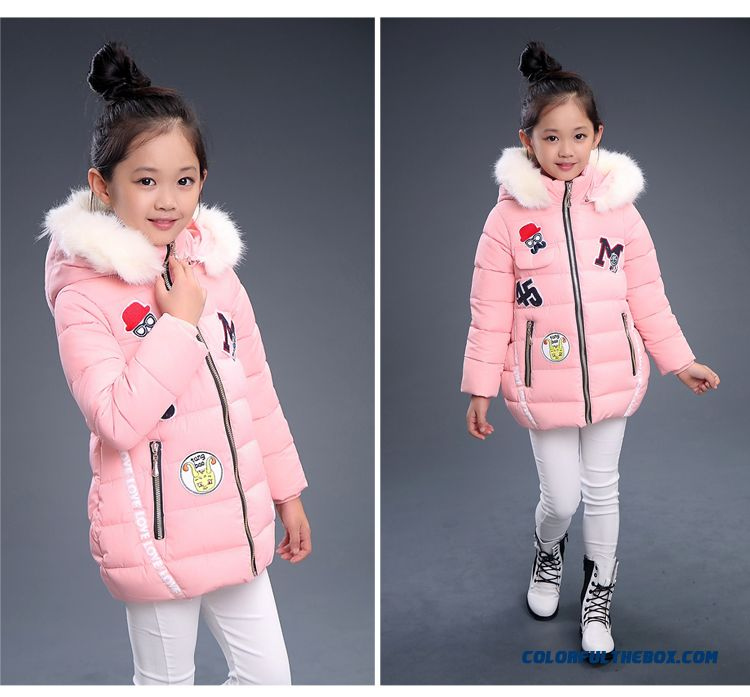 090414454 ... Pretty Stylish Design For Kids Girls With White Fur Collar Warmth Red  Black Coats Free Shipping ...