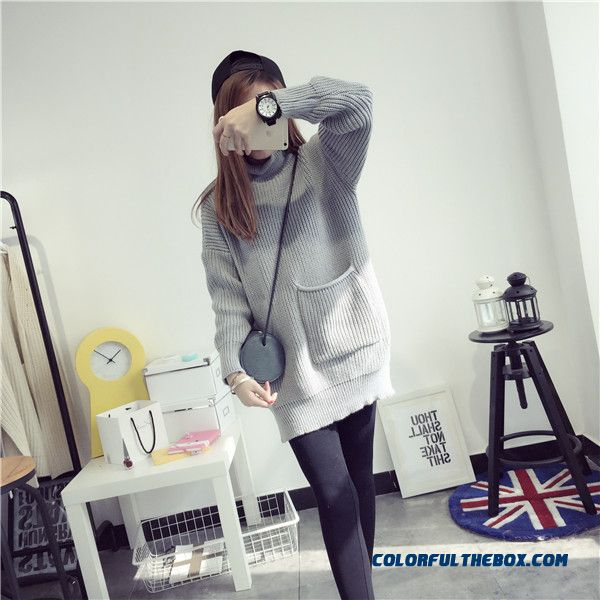 Red Black Grey Women Sweater High Neck Loose Pull Blouson Bottoming Shirt - detail images
