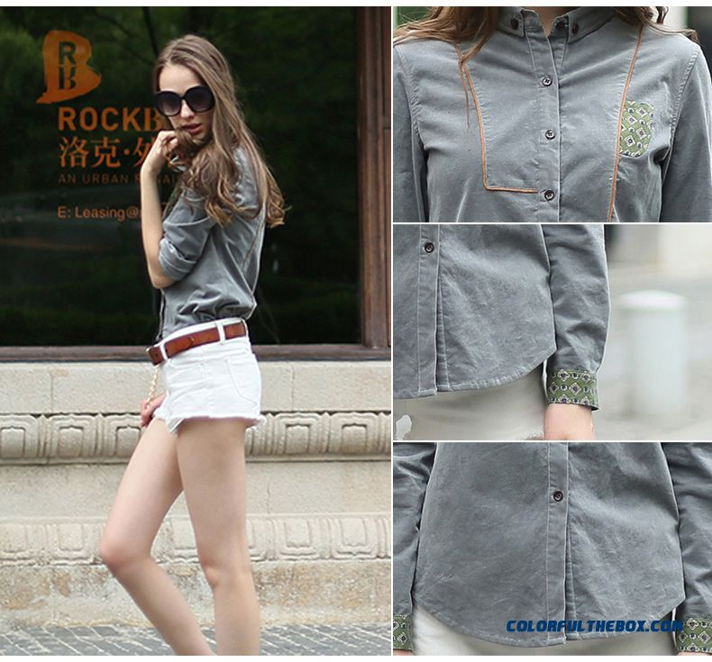 Retro Fashion Long-sleeved Corduroy Shirts Women Navy Blue Gray Red Wine - detail images