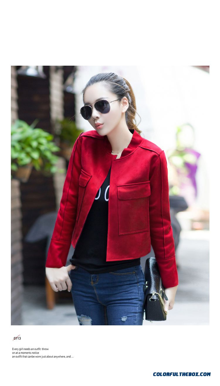 Cheap Retro Style Suede Composite Casual Short Jacket Lady