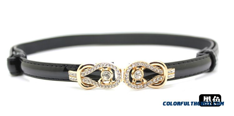 Rhinestone Buckle Candy Colored Patent Genuine Leather Thin Belt Ladies Women Accessories - detail images
