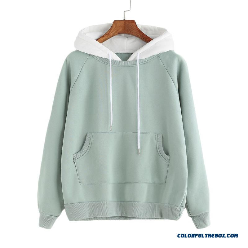 Romwe Pale Green Patchwork Hoodie Women Raglan Long Sleeve Cute Contrast Hooded Sweatshirt Fall Pocket Drawstring Hoodies - detail images