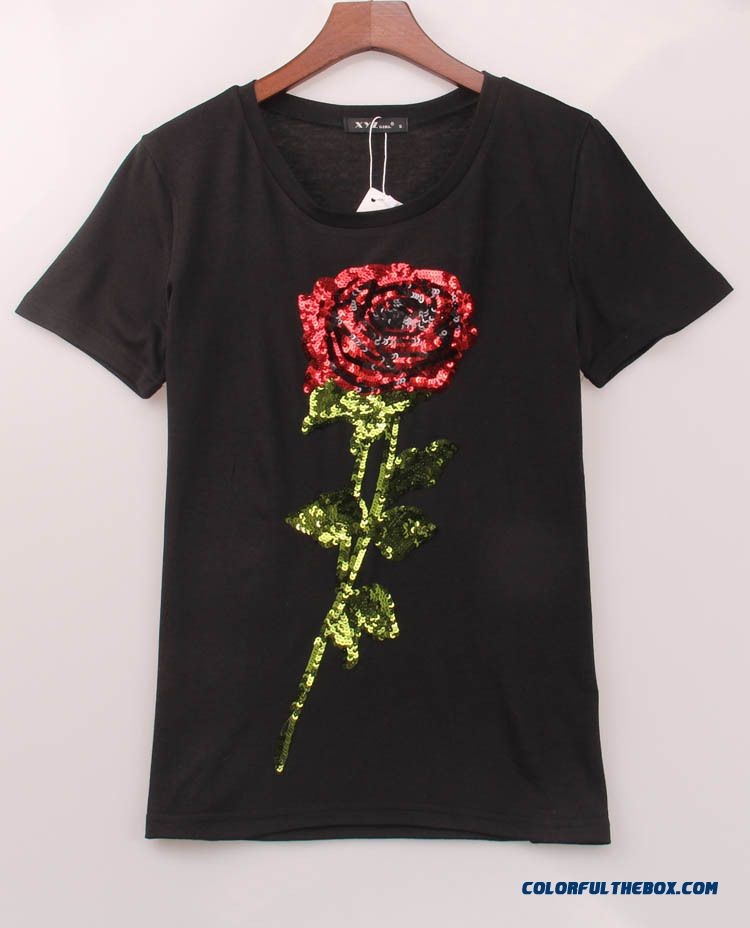 cheap rose sequin embroidery round neck short sleeve t